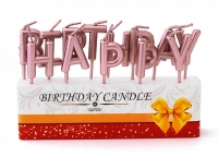 "Свечи-буквы ""Happy Birthday"" розовое золото"