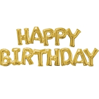 """Шары-буквы """"happy birthday"""" золото"""